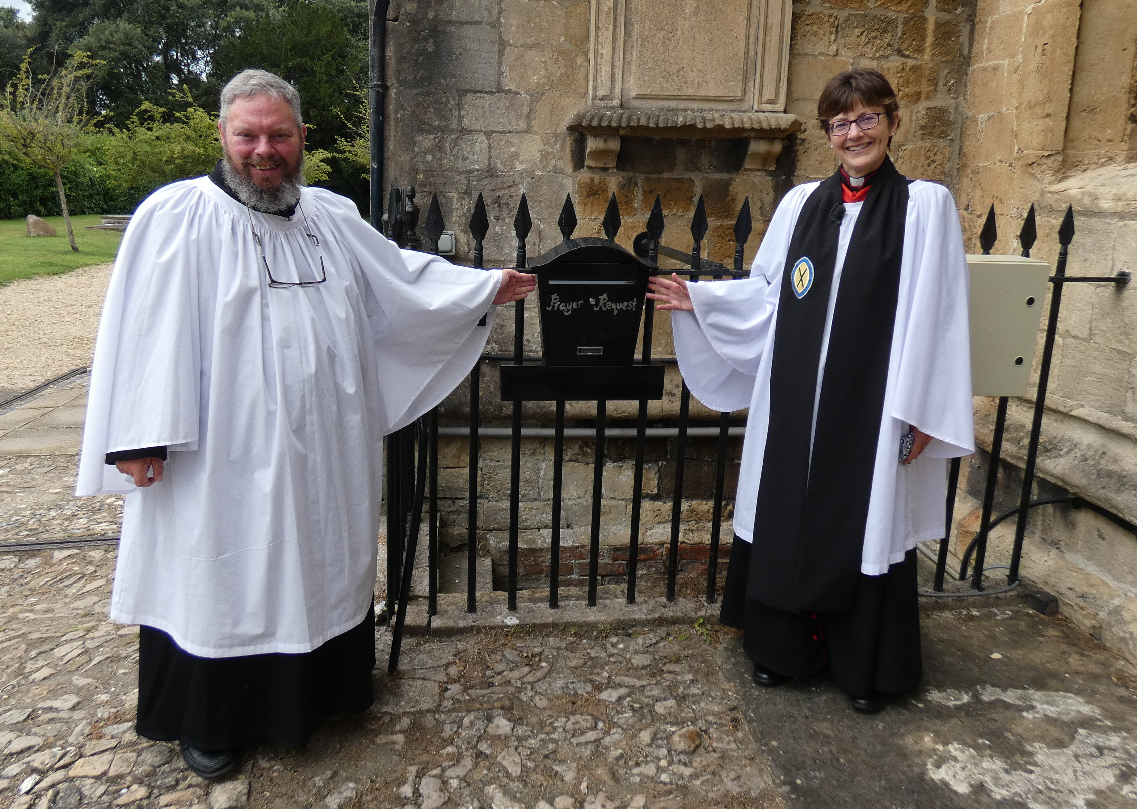 Gerry Lynch and the Archdeacon by the Prayer Box outside St.Johns Gail Foster 002