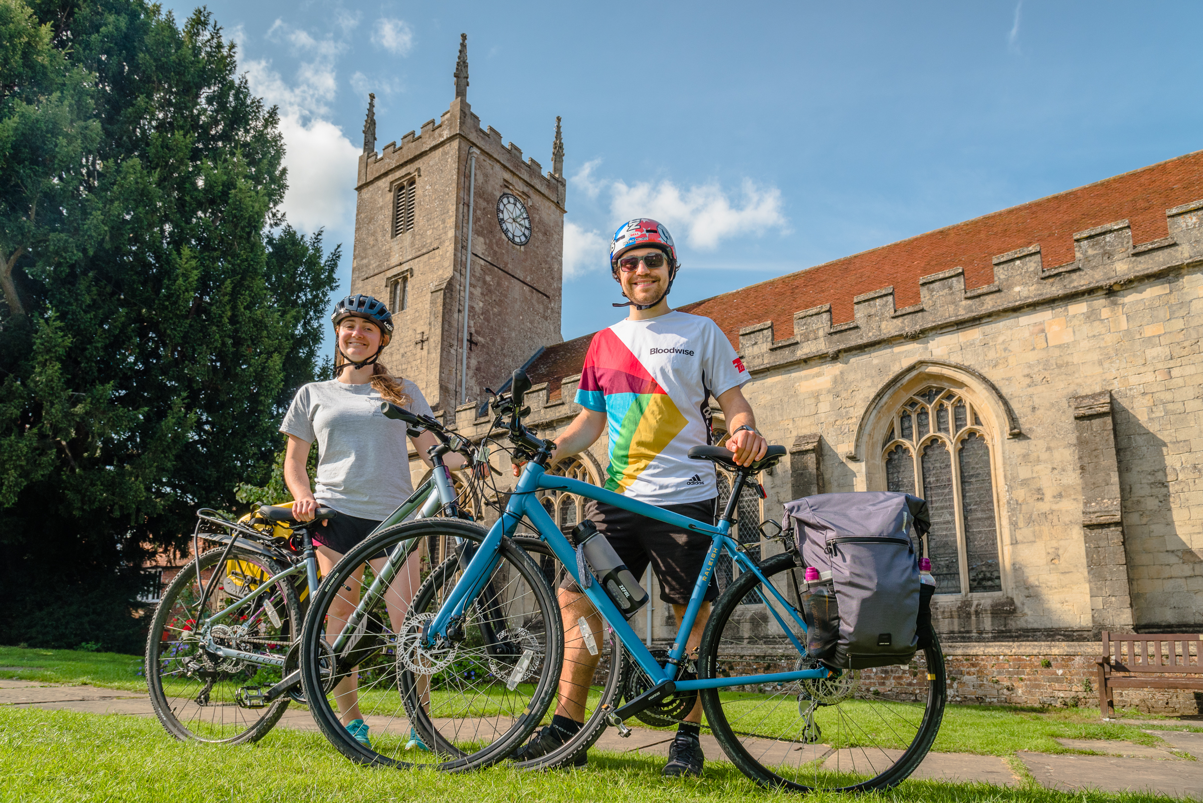 Stephanie Williams and James Carey with their bikes outside St Marys Church in Marlborough Gerry Lynch